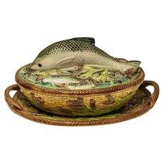 "George Jones majolica covered sardine dish - 5""x 9 1/2"" x 7 1/4"""