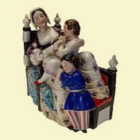 "Victorian Era Continental Porcelain Pen Tray/Inkwell - 9"" x 8 ½"" x 4"""