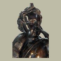 """Pair French bronze shepherd boy & fisher girl mounted as lamps - 27""""x9.5""""x7"""""""