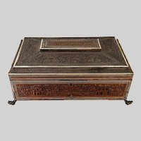 Victorian era Anglo-Indian inlaid sandelwood sewing box