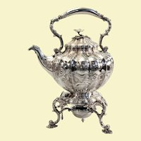 """William IV English sterling teapot on stand 1837 - 16"""" high x 9"""" wide x 12"""" deep"""