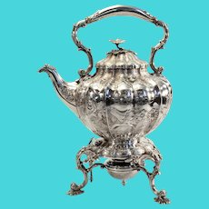 "William IV English sterling teapot on stand 1837 - 16"" high x 9"" wide x 12"" deep"