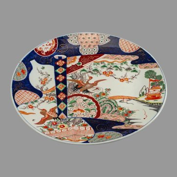 Monumental Japanese Arita Meiji porcelain charger