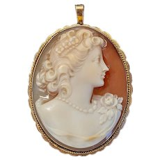 Italian carved shell cameo of a young woman