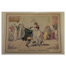 "Satirical political cartoon ""Latitude & Longitude"" George Cruikshank 1813"
