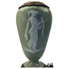 Sevres glazed celadon pate sur pate porcelain lamp base