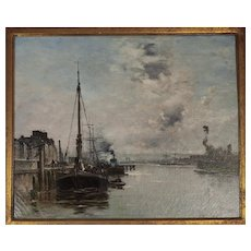 Late 19th c. French Marine Scene- Oil on Canvas