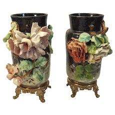 French floral  still-life Aesthetic Movement mounted vases c. 1875