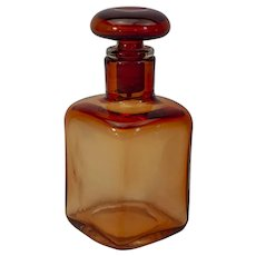 "Paolo Venini-Large amber stoppered bottle-Late 1950s, 9"" tall"
