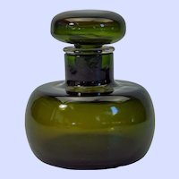 Paolo Venini olive green glass cologne/perfume bottle