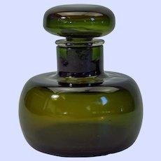 Paolo Venini olive green glass cologne/perfume bottle