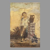English silk work embroidery of a boy with a jug--18th c.
