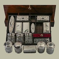 Antique mahogany campaign style traveling gentleman's necessaire kit