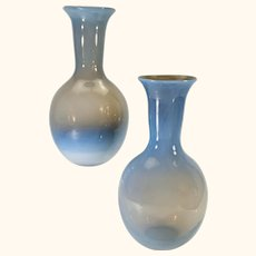 Pair continental blue opaline glass vases