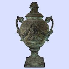 Antique Italian bronze figural garden covered urn