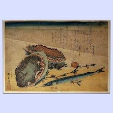 "Utagawa Hiroshige woodblock color print--Abalone, Needlefish, and Peach Blossoms, from an untitled series ""Large Fish"""