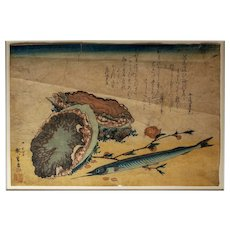 "Utagawa Hiroshige woodblock color print--Abalone, Needlefish, and Peach Blossoms, from an untitled series ""Large Fish"""