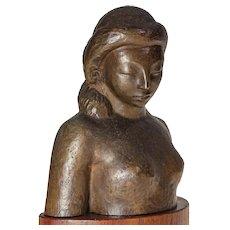 "Bronze Sculpture ""Head of a Woman"" by Brents Carlton - 8.25"" x 3.5""x 6"""