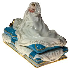 "Baby in a Blanket Inkwell & Pen Tray, 8""x6""x4"""
