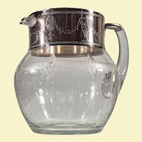 Antique Sterling topped etched blown glass pitcher c. 1900