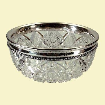 Brilliant period bowl with Gorham sterling rim