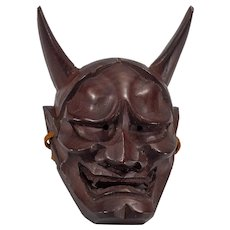 Miniature Carved, Painted Japanese Hannya Mask