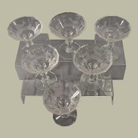 Six 19th c. Bohemian Etched Glass Sherbets