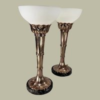 Pair of period French Art Deco copper alloy torch design table uplights