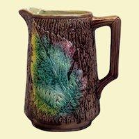 English Victorian lustered majolica leaf-design pitcher
