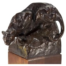 Mounted Bronze Figure of a Mountain Lion