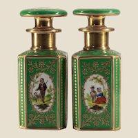 Pair Antique Jacob Petit Scent Bottles