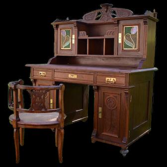 Art Nouveau Carved Walnut Desk & Armchair, circa 1900