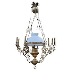 Antique Napoleon III Chandelier with Dragons / Chimeras, in Bronze & Brass