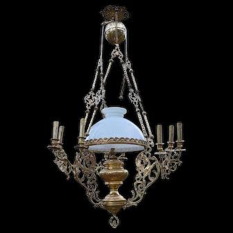 Antique Napoleon III Chandelier with Dragons / Chimeras, in Bronze & Brass