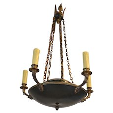 Antique French Empire Chandelier in Patinated Bronze, 19th