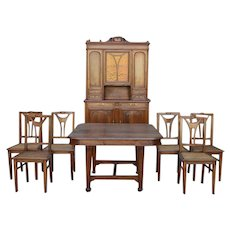 French Art Nouveau Dining Room Set in Walnut, circa 1900