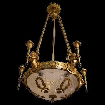 Antique Louis XVI Style Chandelier with Cherubs in Bronze with Golden Patina