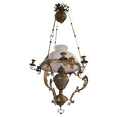 French Large Antique Napoléon III Chandelier in Bronze and Brass