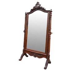 Antique French Large Louis XV Style Walnut Psyche Cheval Mirror, 1900s