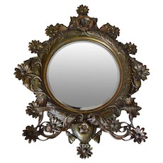 Antique Art Nouveau Mirror, Iron Cast Bronze Patina, 1900