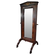 Rare Antique Empire French Mahogany Cheval Mirror, 19th Century