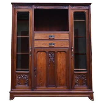 French Art Nouveau Mahogany Bookcase Cabinet Library by Gauthier-Poinsignon, circa 1910