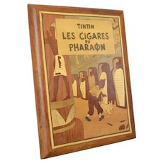 """Vintage Marquetry Panel / Inlay Wood Mosaic Art / Wooden Picture  """"Tintin Les Cigares du Pharaon"""""""