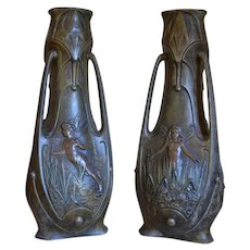 Pair of French Art Nouveau Vases by Jean Garnier, 1898