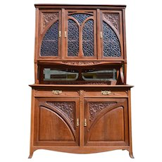 Antique French Art Nouveau Buffet in Carved Chestnut Wood