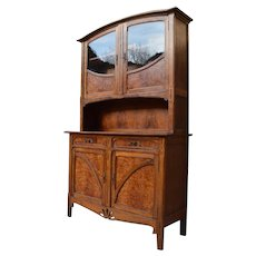 French Art Nouveau Buffet in Oak and Elm Burl