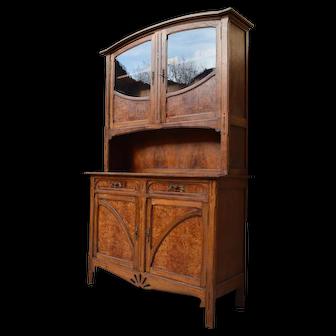 French Art Nouveau Buffet in Oak and Elm Burl