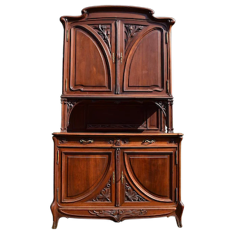 Art Nouveau Wood Carved French Buffet, 1900s