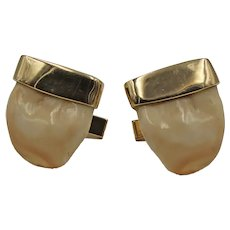 Vintage Elk Tooth Cufflinks with 14K Yellow Gold Mounts