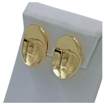 Pair of Vintage 14K Yellow Gold Modernist Ear Clips